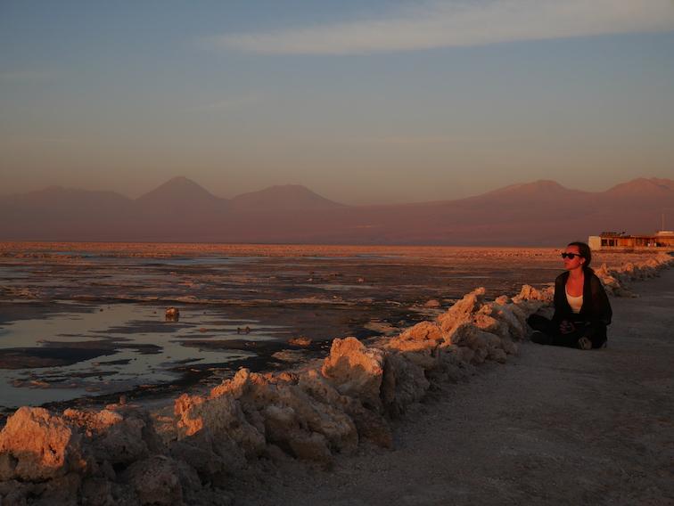 Le coucher de soleil à Chaxa.