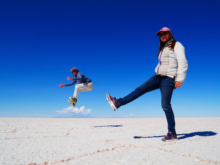 Photo en perspective sur le Salar en Bolivie.
