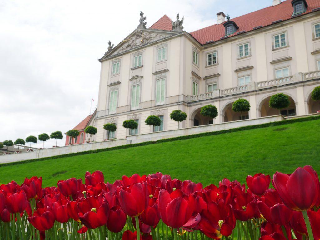Vue depuis les jardins du château de Varsovie.