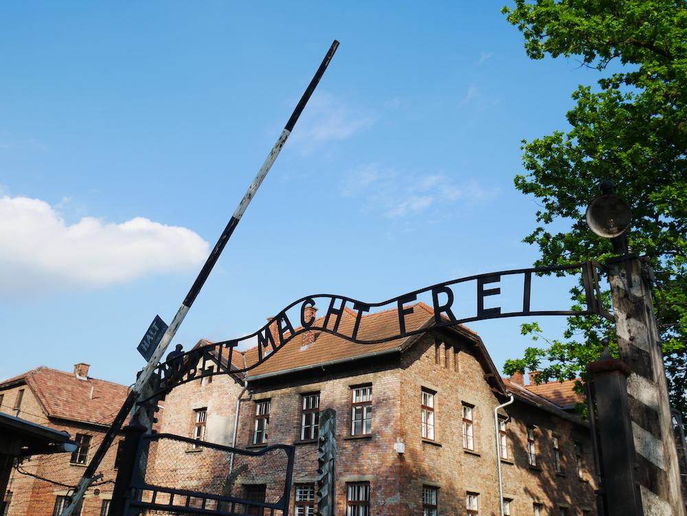Slogan nazi à Auschwitz.