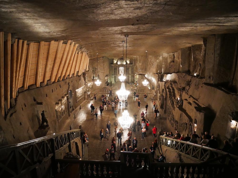Grande salle de la mine de Wieliczka.