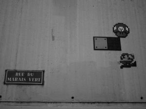 Mario et un champignon en street art.